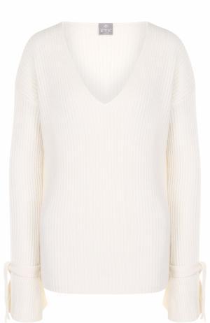 Кашемировый пуловер фактурной вязки с V-образным вырезом FTC. Цвет: белый
