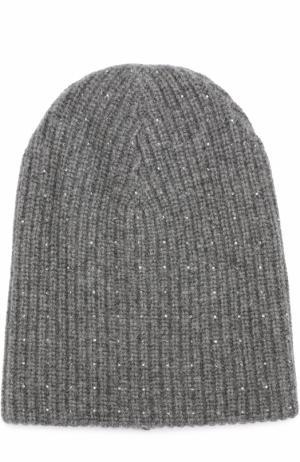 Кашемировая вязаная шапка с отделкой из страз Swarovski William Sharp. Цвет: темно-серый