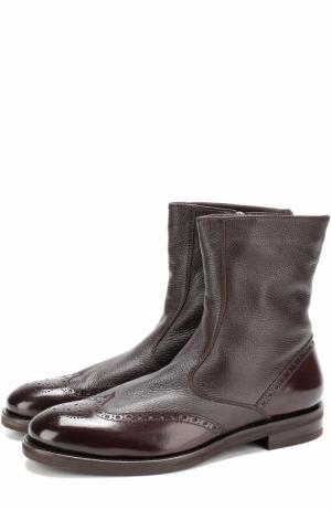 Кожаные полусапоги с брогированием H`D`S`N Baracco. Цвет: темно-коричневый