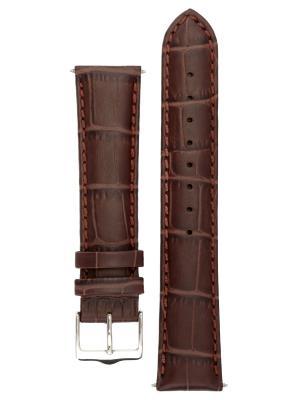 Классический ремешок для часов из кожи теленка с фактурой под аллигатора. Ширина от 14 до 24 мм Signature. Цвет: темно-коричневый