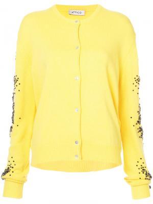 Кардиган с декорированными рукавами Attico. Цвет: жёлтый и оранжевый
