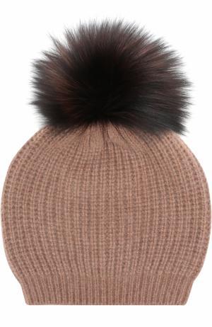 Кашемировая вязаная шапка с меховым помпоном William Sharp. Цвет: коричневый