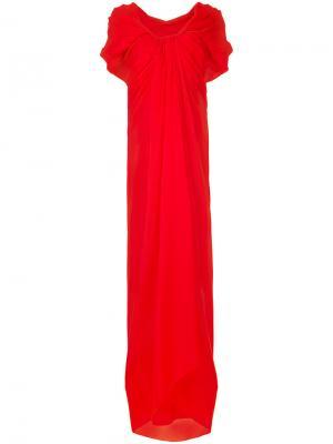 Длинное платье с драпировкой Paule Ka. Цвет: красный