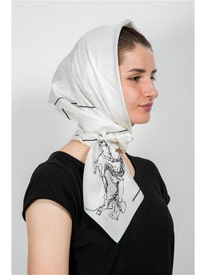 Платок Наездник в кепке, 90х90 см ArtNiva. Цвет: белый