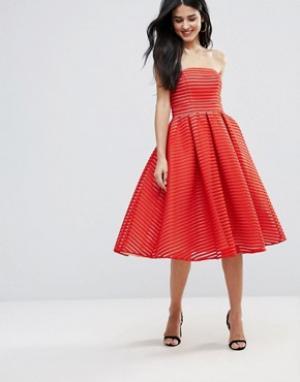 Forever Unique Приталенное платье миди без бретелек. Цвет: красный