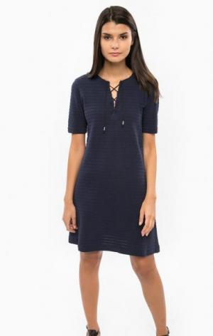 Синее хлопковое платье с короткими рукавами DRYKORN. Цвет: синий