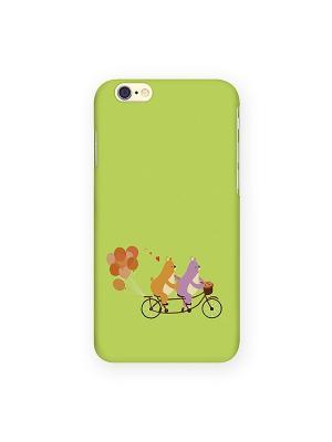 Чехол для IPhone 6 Мишки на велике с шариками Mitya Veselkov. Цвет: салатовый, красный, желтый
