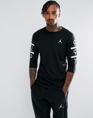Jordan Черная футболка с рукавами реглан Nike 6 Times 862423-010. Цвет: черный