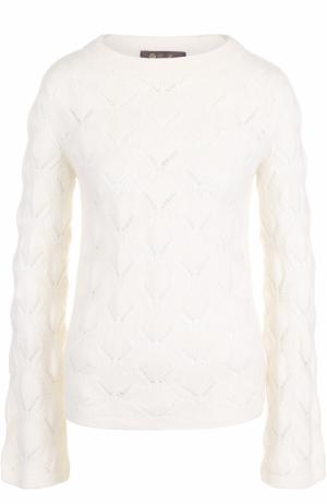 Пуловер фактурной вязки из смеси кашемира и шелка Loro Piana. Цвет: белый