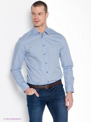 Рубашка INCITY. Цвет: голубой, темно-синий