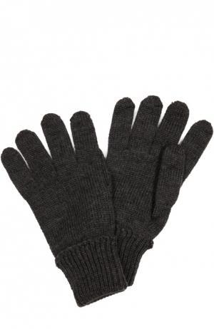 Вязаные перчатки из шерсти Il Trenino. Цвет: темно-серый