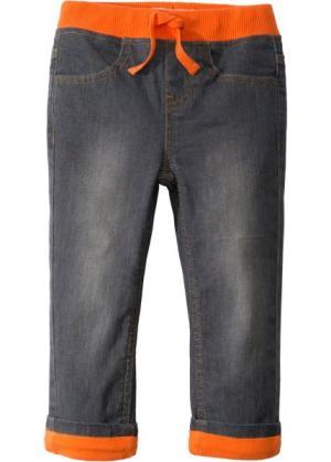 Термоджинсы на трикотажной подкладке (серый деним / оранжевый) bonprix. Цвет: серый деним / оранжевый