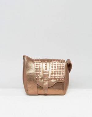 Urbancode Real Leather Bronze Cross Body Bag with Tonal Studded Flap. Цвет: медный