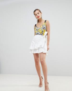 Morgan Асимметричная мини-юбка с оборками. Цвет: белый