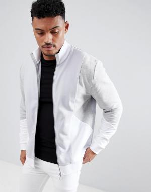ASOS Серая трикотажная спортивная куртка колор блок DESIGN. Цвет: серый