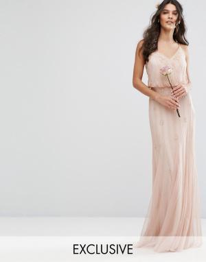 Amelia Rose Платье макси с сетчатыми вставками на юбке и отделкой. Цвет: розовый