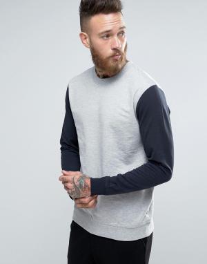 Troy Свитшот с круглым вырезом и контрастными рукавами реглан. Цвет: серый