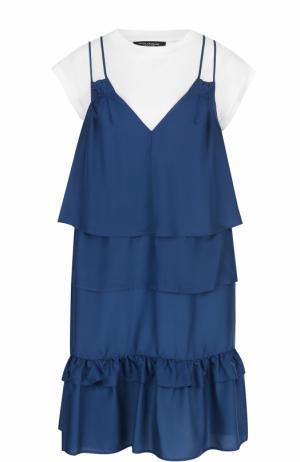 Комбинированное мини-платье с оборками Erika Cavallini. Цвет: синий