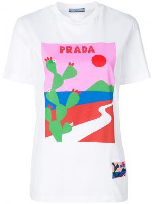 Футболка с логотипом Prada. Цвет: белый