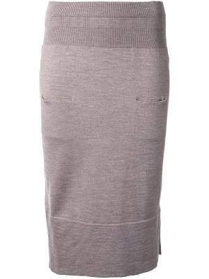 Вязаная юбка Nehera. Цвет: коричневый