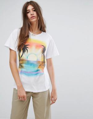 Stussy Свободная футболка с принтом заката. Цвет: белый