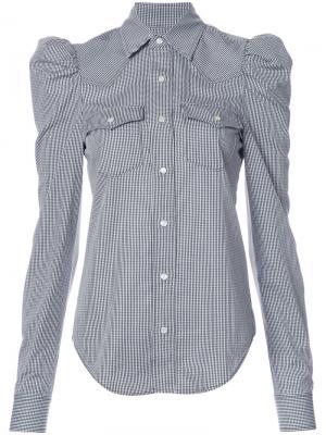 Клетчатая рубашка с длинными рукавами-пуфф Petersyn. Цвет: чёрный