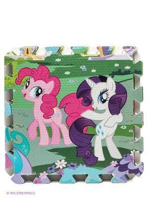 Коврик-пазл My little pony 8 сегментов Играем вместе. Цвет: фуксия, зеленый, голубой, фиолетовый