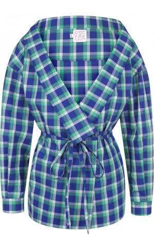 Хлопковая блуза в клетку с поясом и V-образным вырезом Stella Jean. Цвет: зеленый