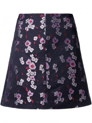 Жаккардовая юбка А-силуэта с цветочным принтом G.V.G.V.. Цвет: чёрный