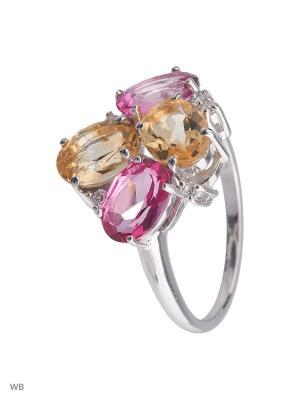 Кольцо Митра Ювелир. Цвет: розовый, желтый, серебристый