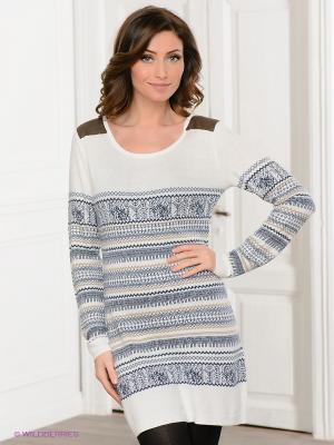 Платье Viaggio. Цвет: белый, серо-голубой, коричневый