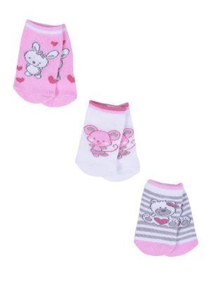 Носки Детские,комплект 3шт Malerba. Цвет: розовый