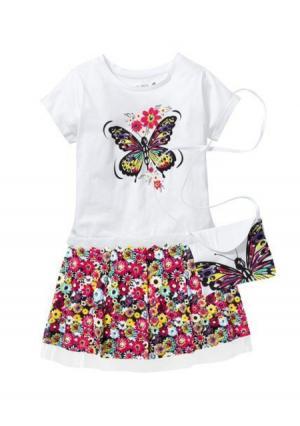 Комплект: кофточка + юбка сумка. Цвет: белый/с рисунком