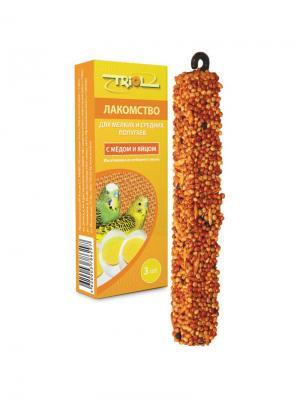 Лакомство для мелких и средних попугаев с мёдом яйцом (уп. 3 шт) TRIOL. Цвет: желтый
