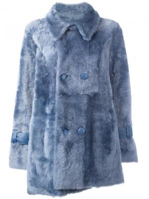 Двубортное пальто Drome. Цвет: синий