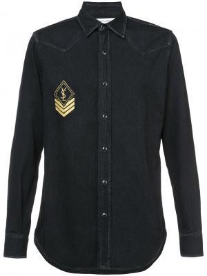 Джинсовая рубашка с принтом логотипа Saint Laurent. Цвет: чёрный