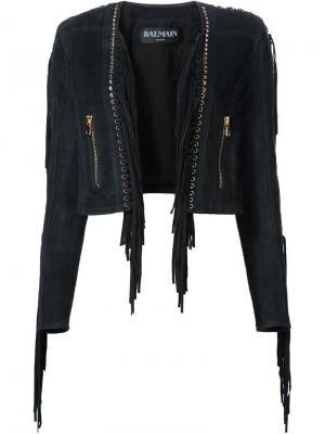 Укороченная куртка с бахромой Balmain. Цвет: чёрный