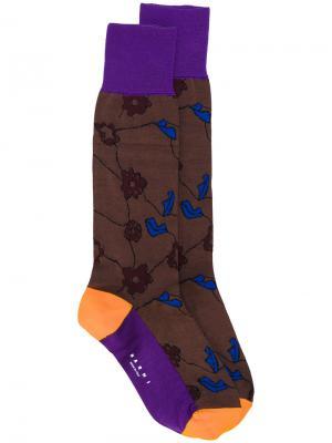 Носки с цветочным узором Marni. Цвет: коричневый