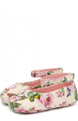 Кожаные пинетки с принтом и кристаллами Dolce & Gabbana. Цвет: розовый