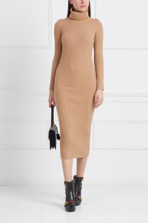 Платье из шерсти мериноса с кашемиром Mixer. Цвет: бежевый