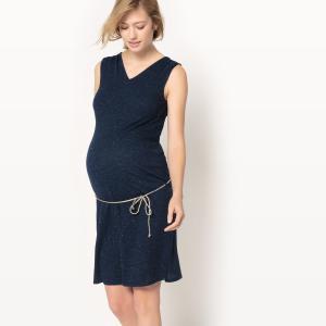 Платье без рукавов для периода беременности La Redoute Collections. Цвет: темно-синий
