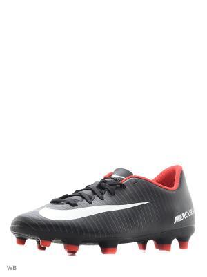 Бутсы MERCURIAL VORTEX III FG Nike. Цвет: черный, белый, темно-серый