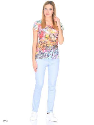 Футболка Taya jeans. Цвет: голубой, розовый, светло-оранжевый