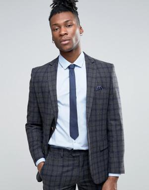 Harry Brown Серый узкий пиджак в темно-синюю и серую клетку. Цвет: серый