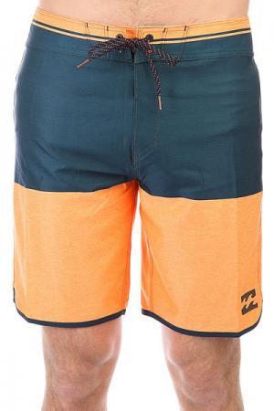 Шорты пляжные  Fifty50 X 19 Neo Orange Billabong. Цвет: синий,оранжевый