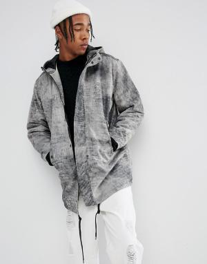 Weekday Кожаная куртка Alliance. Цвет: серый