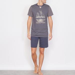 Пижама с шортами La Redoute Collections. Цвет: бежевый/в синюю полоску