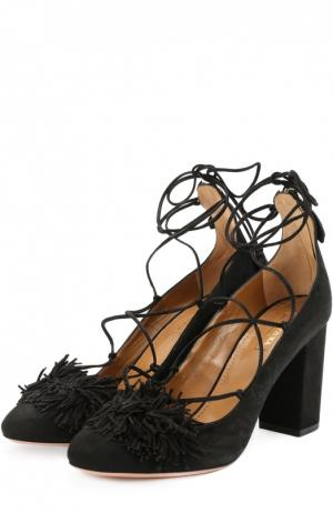 Туфли Wild с бахромой на шнуровке Aquazzura. Цвет: черный