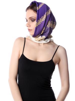 Платок шелковый на голову Фиолетово-золотые квадраты SEANNA. Цвет: фиолетовый