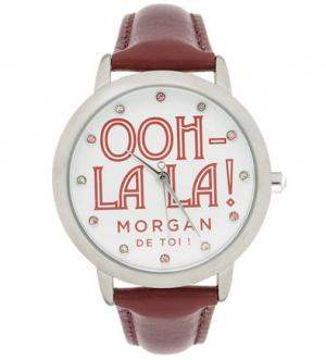 Часы с бордовым кожаным браслетом Morgan